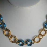 Handmade Chainmaille Peacock Blue and Gold Bracelet