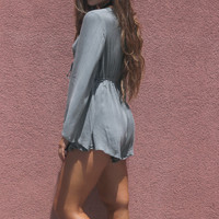Autumn Fields Grey Bell Sleeved Romper With Clinched Waist