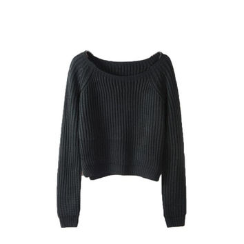 Knitwear Women Autumn Winter Solid Sweater Cropped Pullover Women Loose Sweater Pulover Feminino#A12 SM6