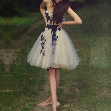 Fascinating  Appliques Ball Gown Sweetheart Mini Prom Dress with Sash from SinoSpecial