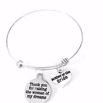 Mother Of The Bride Wedding Gift Thank You Adjustable Bangle Charm Bracelet