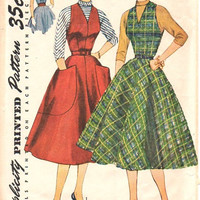 50s Simplicity Sewing Pattern Rockabilly Style Garden Tea Party Dress Full Circle Skirt Turtleneck Blouse Halter Bare Shoulder Sexy 36