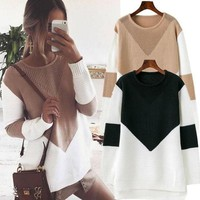 Fashion Knit Long-Sleeved Round Neck Sweater Top Pullover