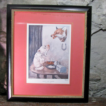 Bonzo Meets A Mask, Framed Print, George Studdy Dogs, Sketch Magazine, British Comic Strip, Vintage Print