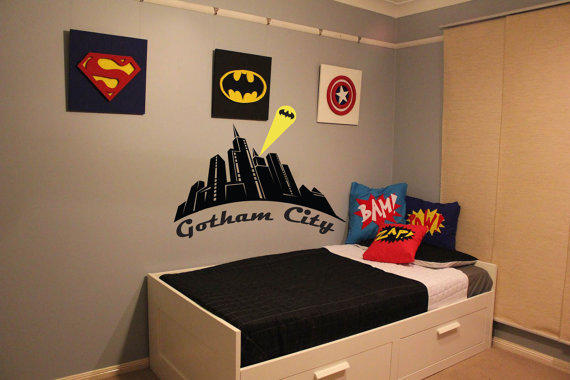 Batman, Gotham City, Wall Decal, Boys From Otrengraving On