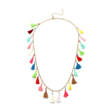 Long and Colorful  Boho Tassel Necklace