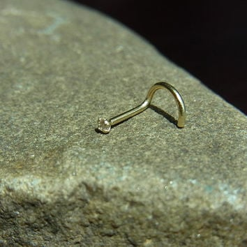14k solid gold with 1.5mm CZ diamond claw setting nose screw