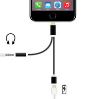 MFI 8pin to 3.5mm Audio Adapter USB Charger Cable for iPhone 7 iPhone7 Plus 6 5 (with 8pin Port Charging + 3.5 mm Port)