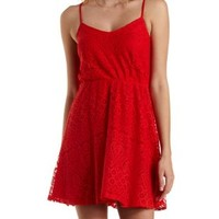 Red Strappy Lace Skater Dress by Charlotte Russe
