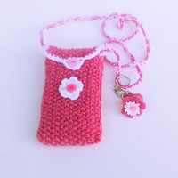 Pink knit little girl messenger bag cute floral girl tote cross body purse messenger pouch shoulder bag locket necklace crochet necklace bag