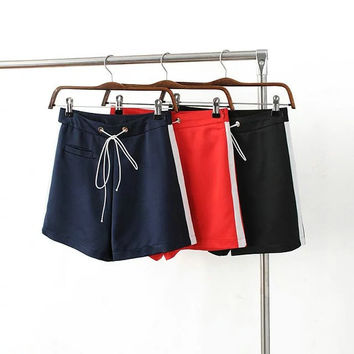Stripes Shaped Casual Pants High Waist Sports Shorts [6295725508]
