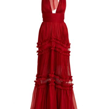 Kalina halterneck silk-mousseline gown | Maria Lucia Hohan | MATCHESFASHION.COM UK