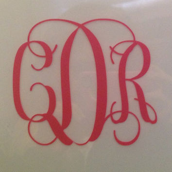 5 Wide Vinyl Monogram Car Decal by SouthernSassGSU on Etsy