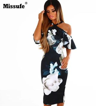 Missufe Off Shoulder Robe Female Bandage Bodycon Outfit Casual Women Summer Boho Dresses Floral Printed Halter Beach Dress