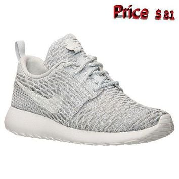 nike shoes men's casual Womens Nike Roshe One Flyknit Casual Shoes Wolf Grey Pure Platinum White sneaker