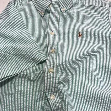 Ralph Lauren Seersucker Green and White Striped Polo Shirt Youth 8-10