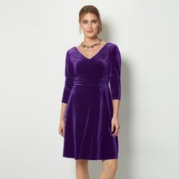 Velvet Fit-and-Flare Dress
