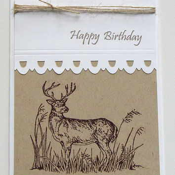 Birthday Deer Card, deer, buck, white and kraft, handmade, greeting card, hunter, guy card, men, masculine