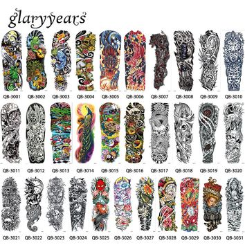 31 Designs 1 Piece Big Large Tattoo Full Flower Arm Skull Machine Leg Body Art Decal Temporary for Women Men Tattoo Sticker 2017
