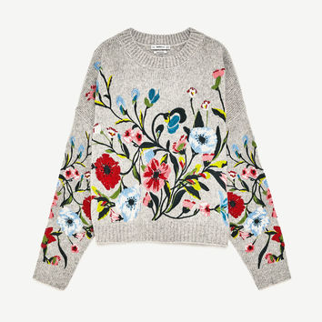 FLORAL EMBROIDERY SWEATER DETAILS