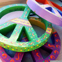 Peace Signs - Set of 3, Psychedelic, Hippie, Bohemian, Hand painted, Lime Green/Yellow, Yellow/Magenta,  Purple/Orange - 3 3/4 inches