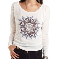 Ruched Dreamcatcher Graphic Sweatshirt by Charlotte Russe