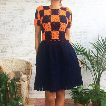 Vintage 1960's OOAK Granny Square Boho Hand Crocheted Dress || Orange And Navy Blue || Size Small