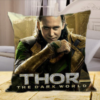 """LOKI From Thor The Dark World Marvel The Avengers Superheroes on square pillow cover 16"""" 18"""" 20"""""""