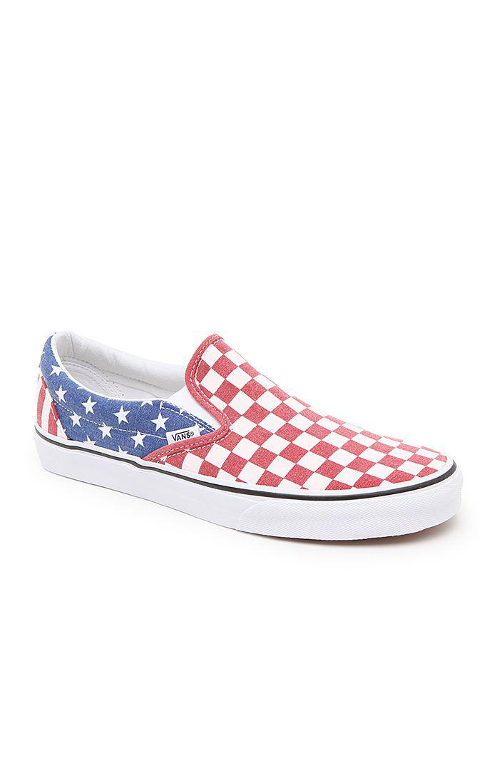 0dc31b9e132 Vans Classic Slip-On Shoes - Mens Shoes - Red White Blue