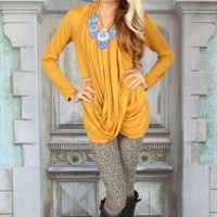 Swept Away Drape Sweater Mustard - Modern Vintage Boutique