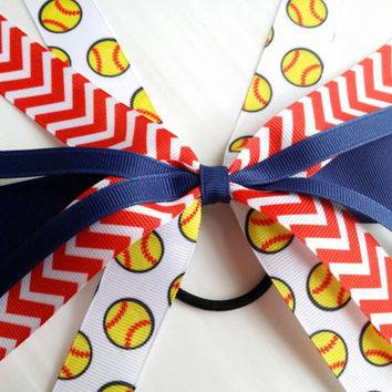 Custom softball streamers, softball team hair bows ponytail ribbon, softball ribbon tie, team sport, hair streamers, softball bow, fastpitch