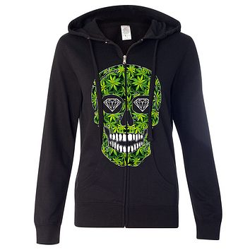 Diamond Eyes Pot Leaf Skull Ladies Lightweight Fitted Zip-Up Hoodie