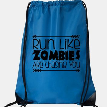 """Drawstring Gym Bag  """"run like zombies are chasing you""""  Funny Workout Squatting Gift"""