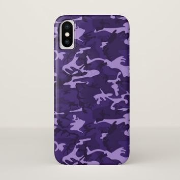 Purple Camouflage Pattern iPhone X Case