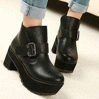 fashion Ladies Black Punk Gothic Buckle Strap Chunky Heels Platform Ankle Boots