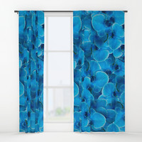Midnight Pacific Blue Orchids Window Curtains by deluxephotos