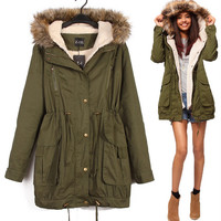 Women Winter wearing Army Green Sherpa Double Cotton-padded clothes Fur Collar Cotton Jackets SZ XS - L