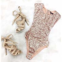 Summer Style Sequined Design Rompers Jumpsuits Elegant Gold Sequin Bodysuit Women sexy Costume O-Neck Sleeveless Ladies Playsuit