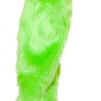 Neon Lime Furry Leg Warmer Go Go Accessories Rave Clothing