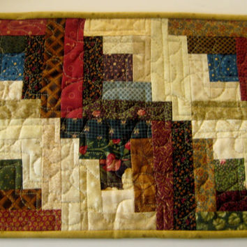 Quilted Log Cabin Table Runner, Table Mat, Placemat - Rustic Country Primitive Home Decor