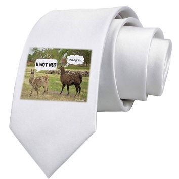 Angry Standing Llamas Printed White Neck Tie by TooLoud