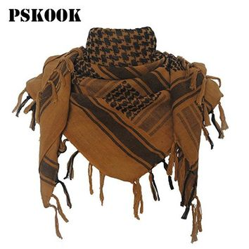 PSKOOK 100% Cotton Military Shemagh Tactical Desert Arab Scarf 110*110cm Unisex Winter Keffiyeh Windproof Thick Muslim Scarves
