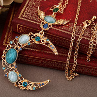 Moon Necklace --Blue Moon such as hook bright sapphire necklace,Crescent Moon Necklace