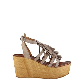 "Women's Taupe Brown ""Ana Lublin ADELIA"" Wedges/Heels with Tassel Trim"