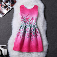 Gorgeous Bright Fuschia Pink Floral Spring Easter Sleeveless Dress