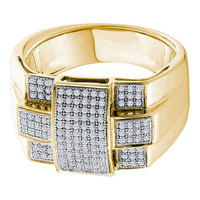 Diamond Micro Pave Mens Ring in 10k Gold 0.5 ctw