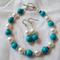 Teal Bracelet & Earring Set by TheBlueEyedBeader on Etsy