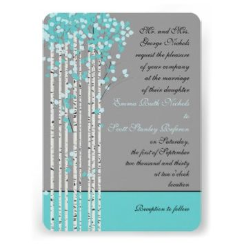 Birch trees aqua blue, grey wedding invite