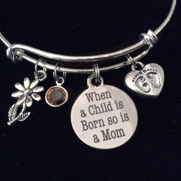 When a Child is Born so is a Mom Birthstone Baby Feet Charm Silver Expandable Charm Bracelet Adjustable Wire Bangle New Mom Gift