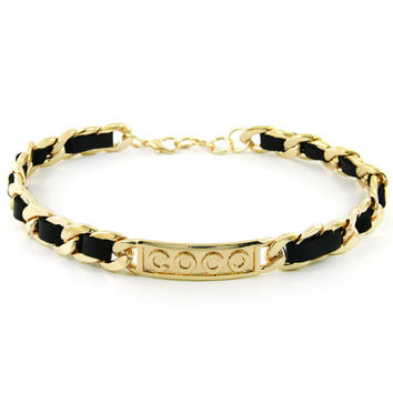 """Gold """"COCO"""" Link Chain Faux Leather Statement Choker Necklace"""